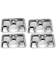 Stainless Steel Rectangular Tray 6 Compartment Dinner Plate Divided Dinner Plates