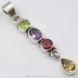 Fashions Trendy Tibetan Jewellery Wholesaler 925 Silver NATURAL MULTI COLOR GEMSTONES LONG Pendant 1.8 Inch
