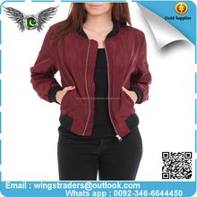 wholesale bomber jackets women Light Weight Competitive With Good Price Made in Pakistan