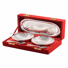 Moradabad Silver Plated Brass Antique Design Wholesale Wedding Gift Indian Handmade Designer Tray Set of Bowl With 2 Spoon