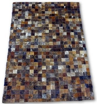 Dark Brown Patchwork Cowhide Rug