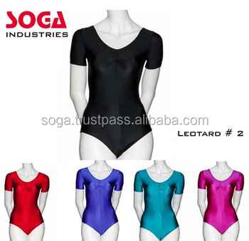 Girls Ladies Black Lycra Spandex Sleeveless Ballet Dance Leotard