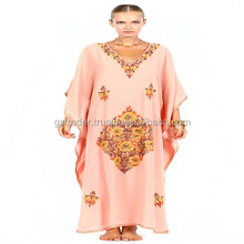 Latest Fashion kaftan kurtis/ Girls beach embroidered cotton kaftan dress