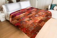 Indian 2017 Vintage Silk Sari patchwork Handmade Kantha Quilt Bedspread- Queen
