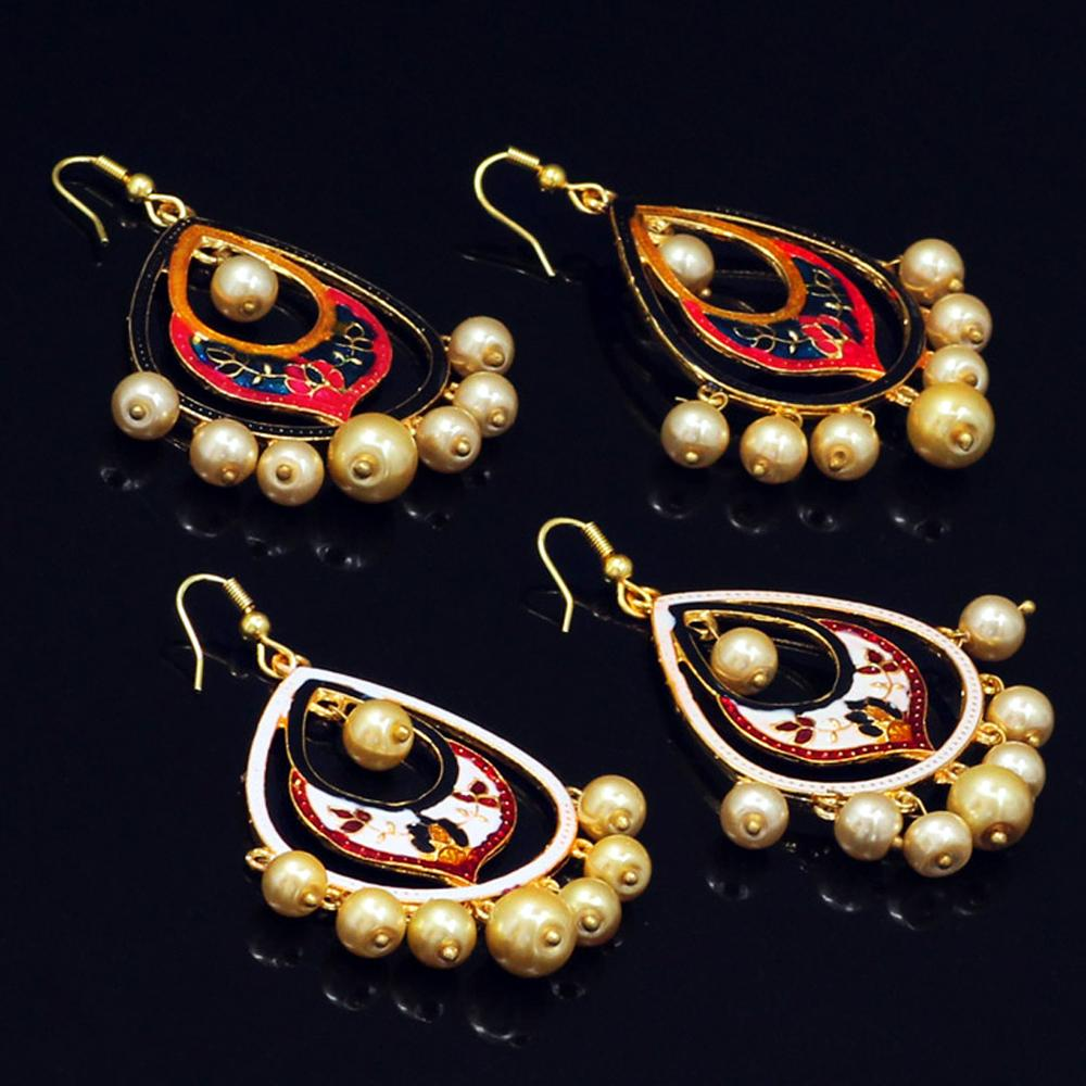 Jaipur Mart Gold Plated Imitation Pearl Meenakari Work Multi Color Earrings Set of 2 Pairs Earrings For Girls