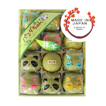 Light and soft textures green tea matcha chiffon cakes with panda packaging