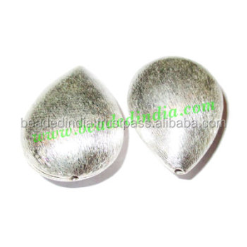 Silver Plated Brushed Beads, size: 29x20.5x12mm, weight: 6.35 grams. BMSPBR002