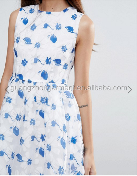 Guangzhou Wholesale Clothing OEM o neck Sleeveless White Sunflower Organza Dress