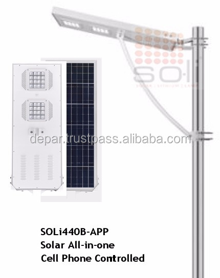 60W All-in-one integrated solar light with cell phone application, bluetooth control & smart phone/tablet interface