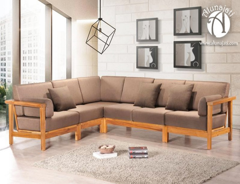 Corner Wooden Cushion Sofa, L shape Sofa Living room Home Furniture