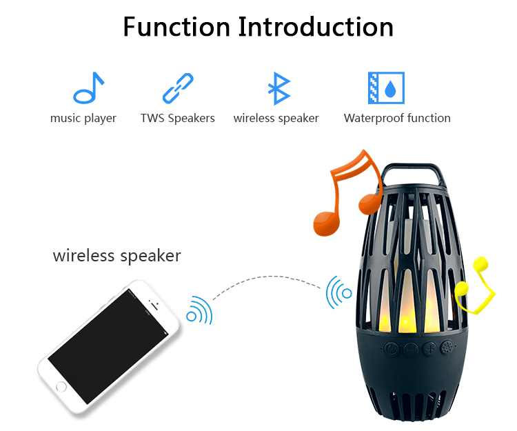 Portable handheld bamboo flame lamp bluetooth led wireless speaker