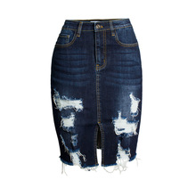Europe and America street fashion ladies dark blue washed ripped tassels slim pencil women jeans <strong>skirt</strong>