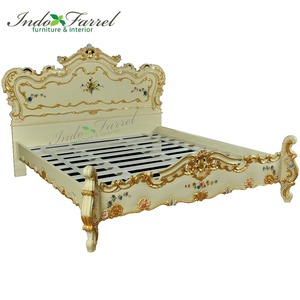 Royal Turkish Style Solid Wood King Size Single Bed Bedroom Furniture