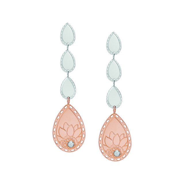 Nomination DEMETRA Long Earrings in Steel with Rose Gold finish and cubic Zirconia