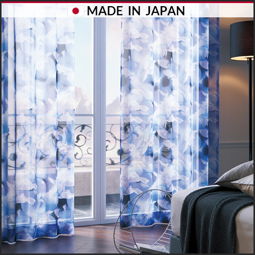 Curtain fabric, Sheer curtain with digital print of flower design, made in Japan, SANGETSU