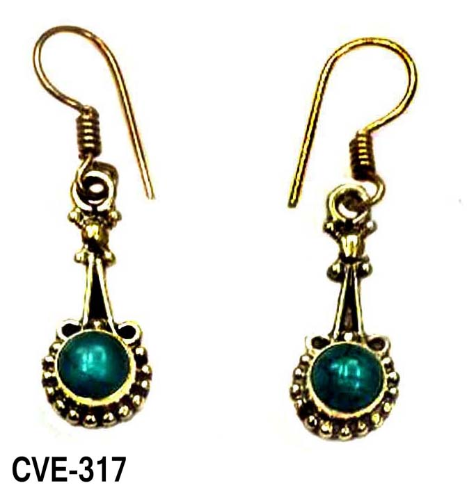 Crafty12 New Elegant Dainty New Modish Dangle Turquoise Stone Pure Brass Fish Hook Indian Tribal Earrings .