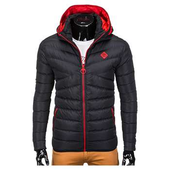 NEW DESIGN TOP SELLING  CHEAP QUILTED PADDED BLACK WINTER JACKET FOR MEN WITH HOOD C363 OMBRE BRAND