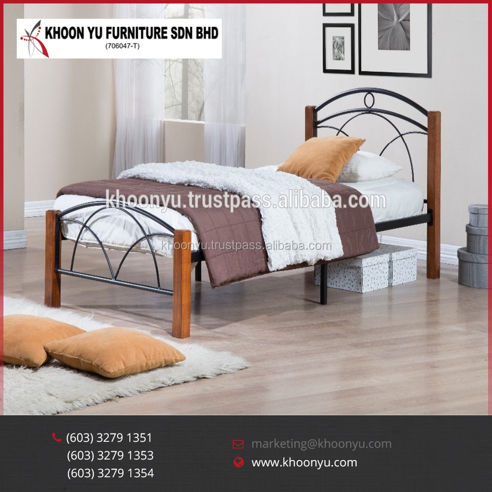 2016 Hot Sell Promotion Metal Bed Frame Wooden Single Bedroom Furniture Latest Design Furniture Made in Malaysia