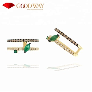 Fashionable Emerald with White & Brown Diamond 14K 585 Yellow Gold Ring Jewelry for women