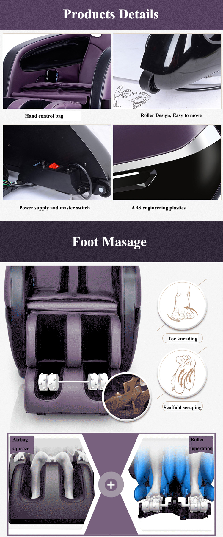 Top Sale Human Touch Zero Gravity Pedicure Massage Chair Parts