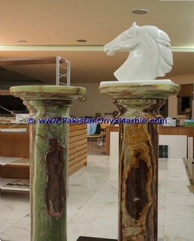 NATURAL STONE GREEN ONYX COLUMNS PILLARS CARVED TOP