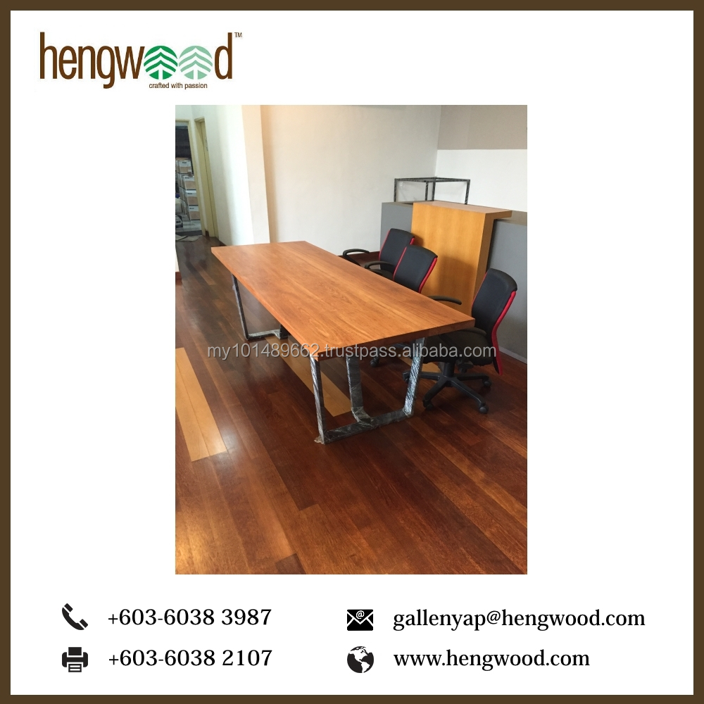 High Quality Merbau Solid Wood Dining Room Table Slab Modern Set/ Pictures of Wooden Dining Table