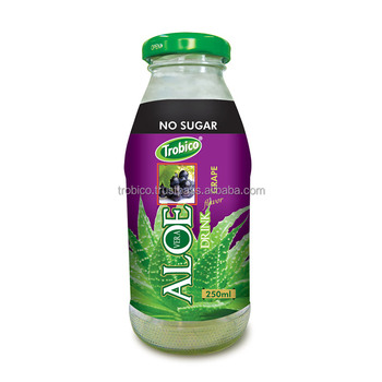 250ml Glass bottle No Sugar Aloe Vera with Grape Flavor-VietNam Manufacturer-OEM Fruit Juice-From Trobico Brand