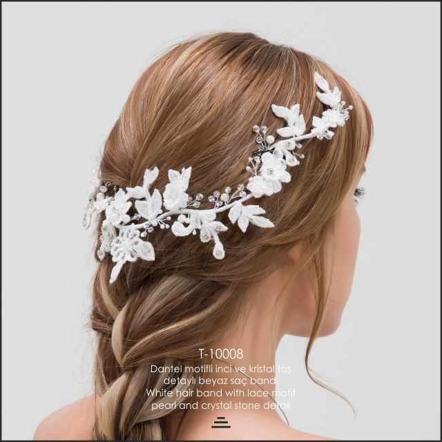 White Hair Band With Lace Pattern For Bridal Hair Accessories
