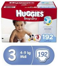 HUGGIES Snug & Dry Diapers Size 4, for 22-37 lbs (192 Count) of Baby Diapers,