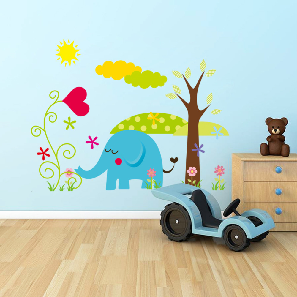 Promo cute cartoon pvc wall decoration sticker kids