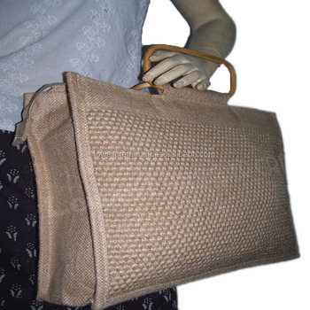 RIBBED JUTE SHOPPING BAG