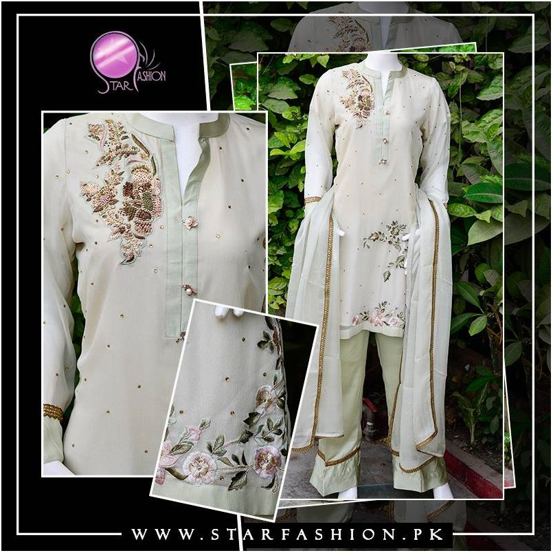 Indian/Pakistan vintage outfit with hand embroidery on shoulder and daman. Available with Satin trouser.