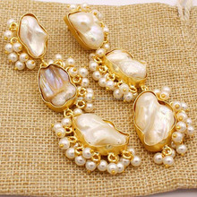 All the white pebbles with Fresh Water Pearls 3 Stone Pearls Handmade Beautiful Earrings