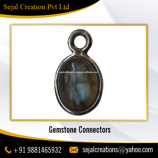 925 Sterling Silver Ready Stock Labrodorite Gemstone Connector for Jewelry