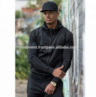 Wholesale Custom black man fashion Sportswear Tracksuit with club logo , custom tracksuit and sweatsuit