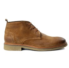 MEN'S LEATHER LACE-UP ANKLE LENGTH TRENDY FASHIONABLE BOOTS ON TPR SOLE