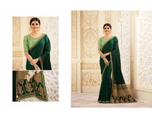Indian Ethnic Designer Sari Blouse silk Heavy Embroidery Fabric Saree