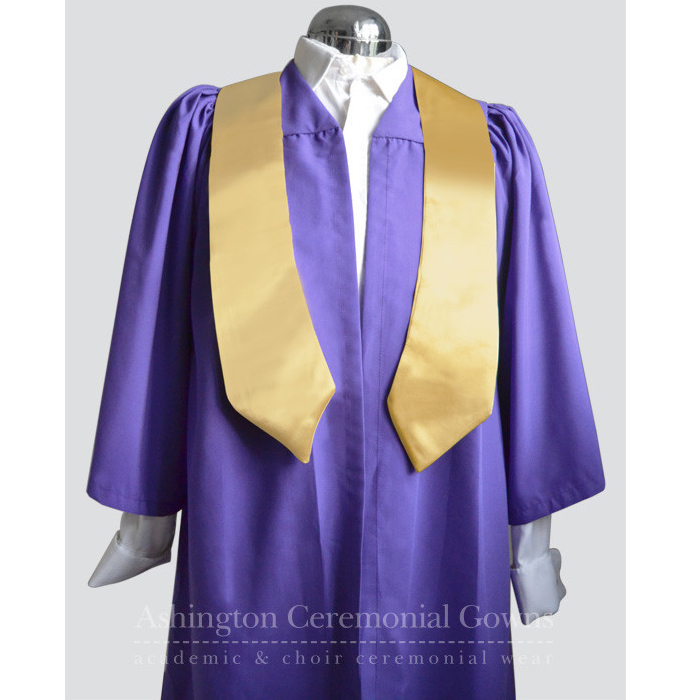 Multibuy: 10 Purple Choir Robes with Gold Satin Stoles