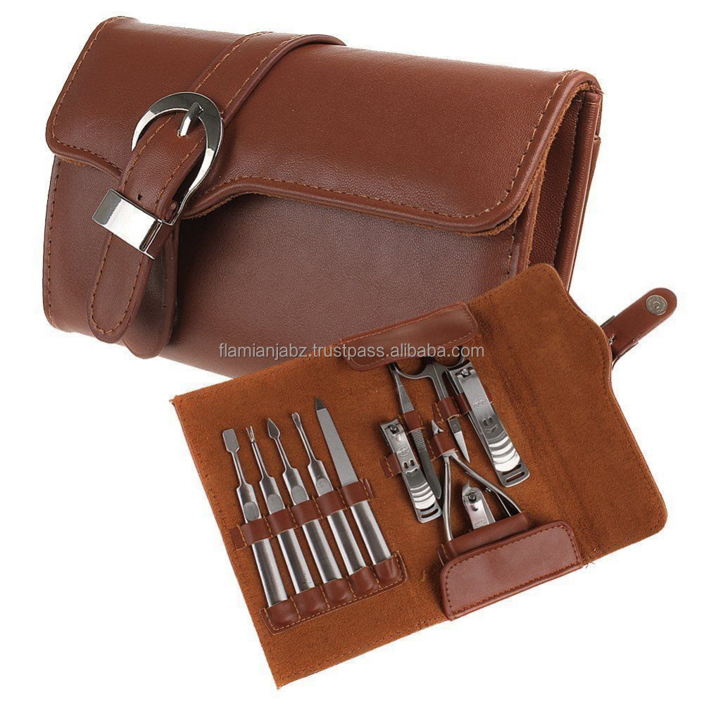 Manicure & Pedicure Set Grooming Kit Leather Case 11PCS Nail Care Personal