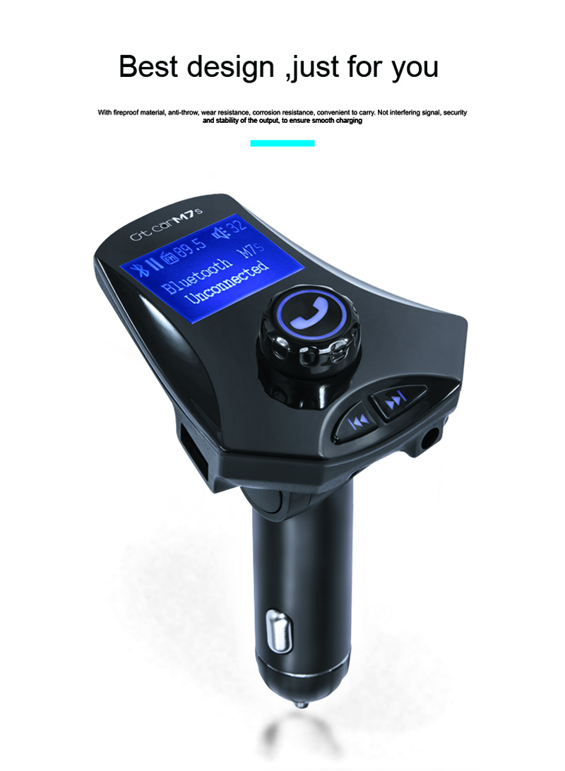 GXYKIT M7S large LCD screen top sale car bluetooth fm transmitter mp3 player