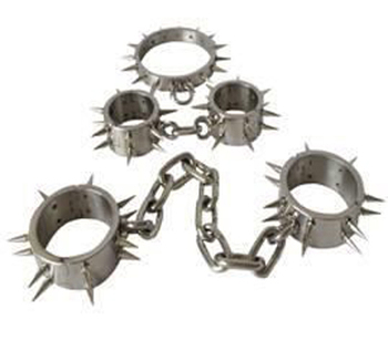 Steel locking slave Hand cuff Foot cuff collar sex bondage restraint fetish choker Complete Set adult game medical sex toy 003