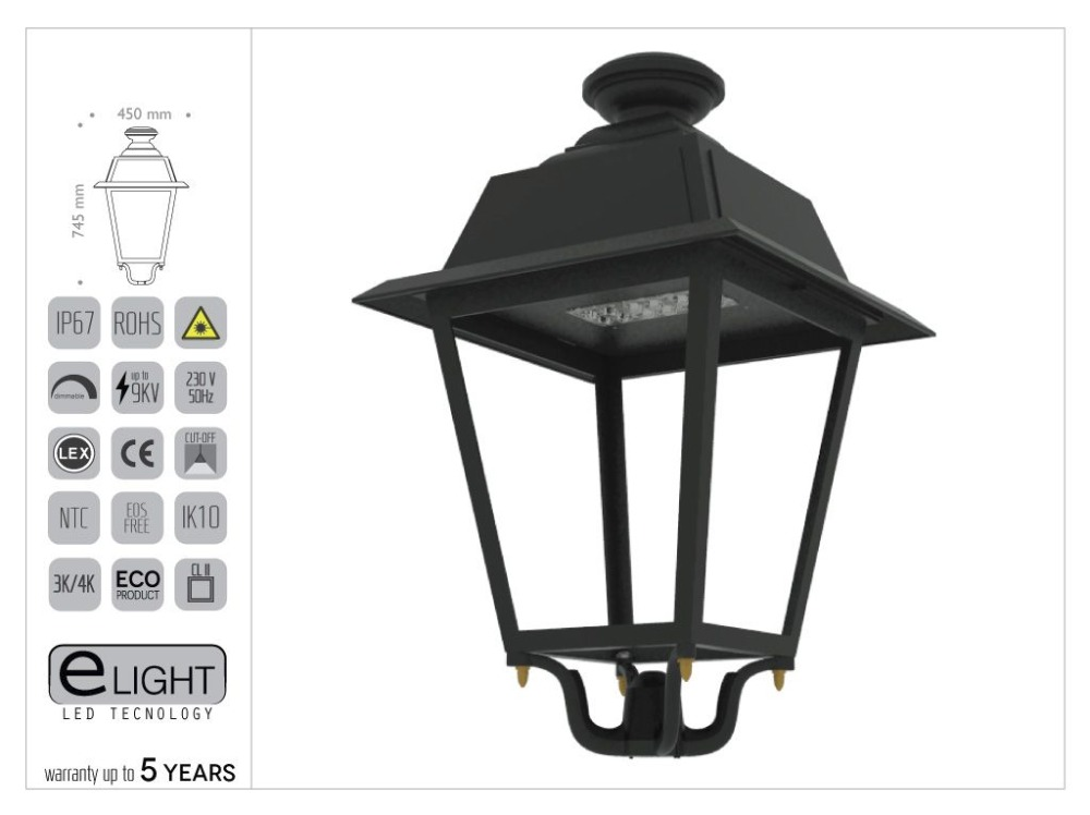 Artistic aluminium LED Luminaire model ANTIQUE UP TO 130W 12.340 lumen .