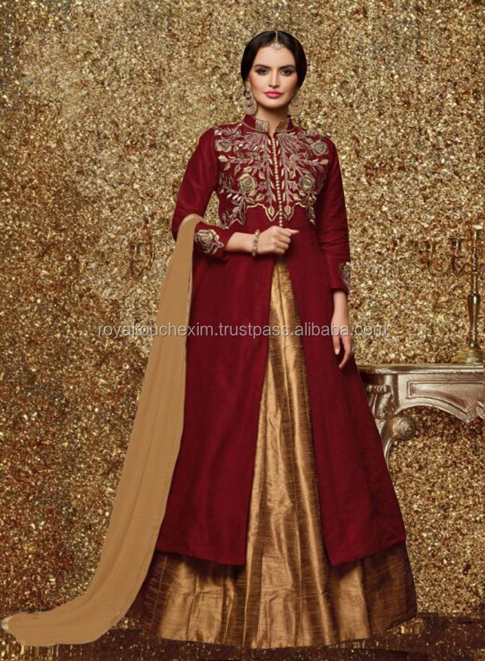 Latest Designer maroon color bangaluri silk embroidered anarkali salwar suit