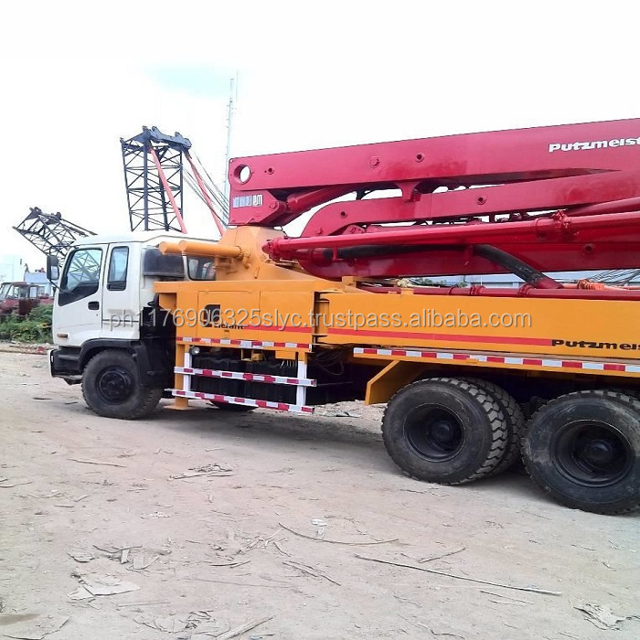 Large Stock 37 Meter Isuzu Used Concrete Pump Truck With Putzmeister Pum