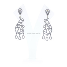 925 Sterling Silver Natural Diamond New Trendy Fashion Chandelier Dangle Earrings, 14K Yellow Gold Party Wear Stylish Jewelry