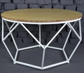 White Metal Frame wooden Top round coffee table