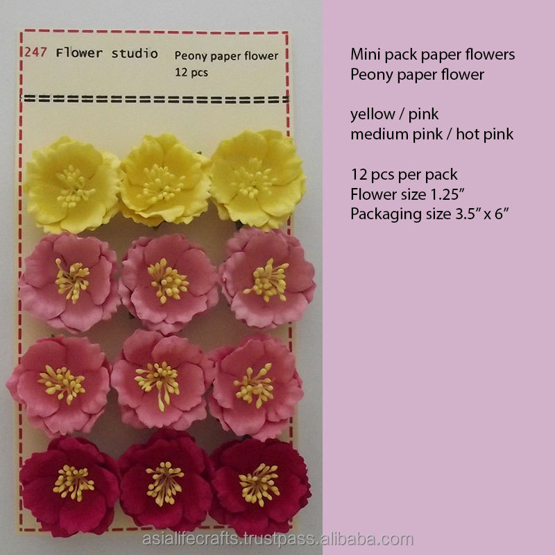 Mini pack 12 pcs Peony handmade paper flower Pink for Spring Summer