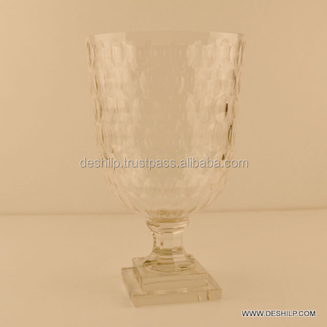 Clear Crystal Cutting Glass Antique Candle Holder Round Shape Head And Base