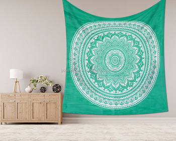 "Indian Latest Handmade Wall Hanging Hippie Green Ombre Mandala Tapestry Bohemian Bedspread Dorm Decor 95""X85"" Inch"