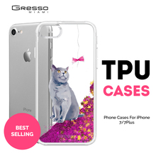 New Fashion Transparent TPU Wallet Case for iPhone 8 7 6s 6 Plus with British Cat Printing and Liquid Glitter Wholesale OEM